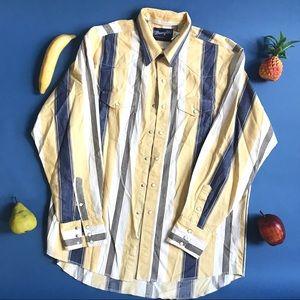 Vintage 70s Wrangler yellow blue stripe shirt / XL